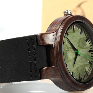 Image 5 - BOBO BIRD WC25 Ebony Wooden Watch Green Second Pointer Wood Face Watches for Men