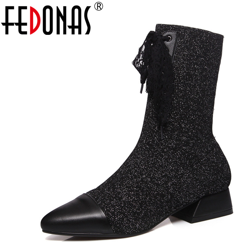 FEDONAS 1New Arrival Women Mid Calf Boots Autumn Winter Warm Square Heels Shoes Woman Pointed Toe Cross-tied Brand Stretch Boots 2017 new fashion brown cross tied spring autumn short booties mid calf pointed toe graceful pumps women shoes cut out boots