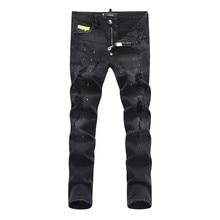 Новое Прибытие молодежная мода высокое качество удобная мужская повседневная джинсы брюки длинные брюки прямые простые мужчины отверстие джинсы 1505