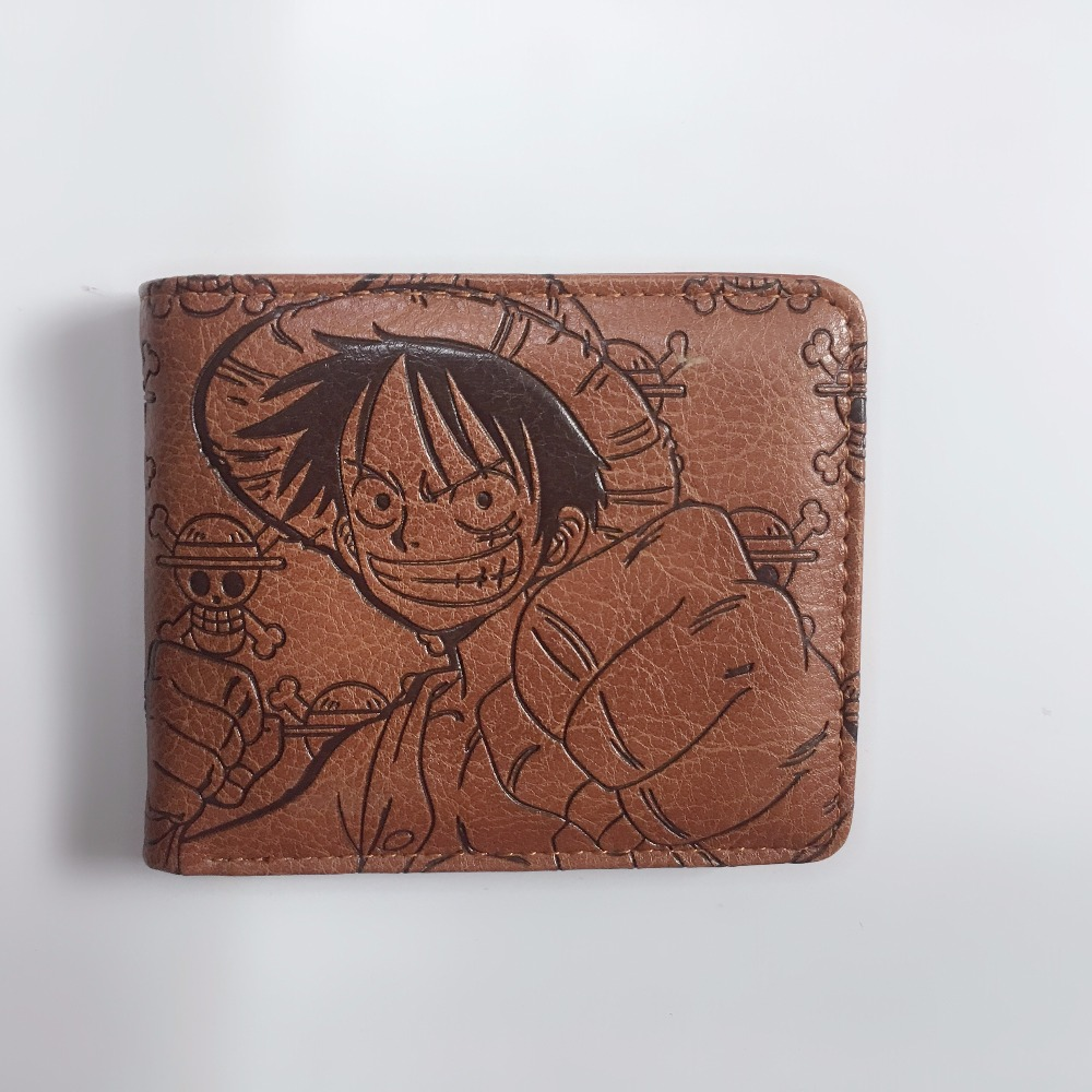 2018 New Anime Handbag Men Leather Wallets Fashion Cartoon One Piece Card Holder Gift Card Short Price Wallet with Pocket W1174Y new anime style spiderman men wallet pu leather card holder purse dollar price boys girls short wallets with zipper coin pocket