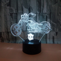 New Motorcycle 3d Lamp 7 color 3d Led Deco Lamp sGradual Touch Remote Control Creative 3d Led Small Table Lamp