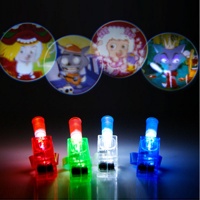 3acc557578 2018 LED Finger Lights Glowing Dazzle Laser Emitting Lamp Cartoon Beam  Projector Figures Ring Light Party Christmas New Year