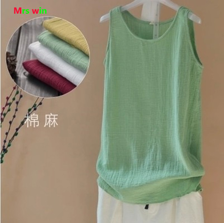 2019 Summer Women   Tank     Top   Casual sleeveless   top   Linen Cotton Loose Women   Tanks   Soft Long O Neck Conforatble Vest blusas halter