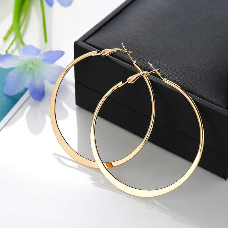 3 Sizes Big Smooth Circles Hoop Earrings For Women Statement Gold Silver Color Round Circle Loop Earring Party Gift Hot Sale