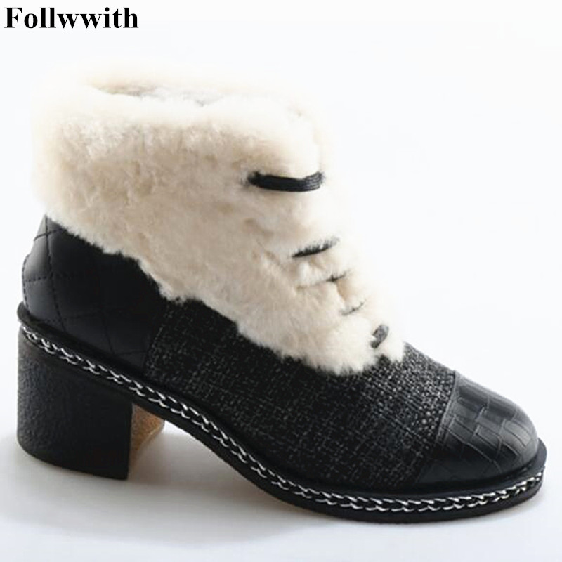 2018 White Fur Winter Warm Ankle Boots Lace Up Shoes Low Heel Short Booties Luxury Snow Boots Fashion  Patchwork Canvas round toe fur women snow boots lace up short booties fashion flats korea stylish winter warm shoes ankle boots luxury brand shoe