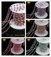 5Meter/lot Women Small Beads Jade Ja sper Stone Faceted Rondelle Brass Plated Gold Chains Necklace of European Jewelry JD096