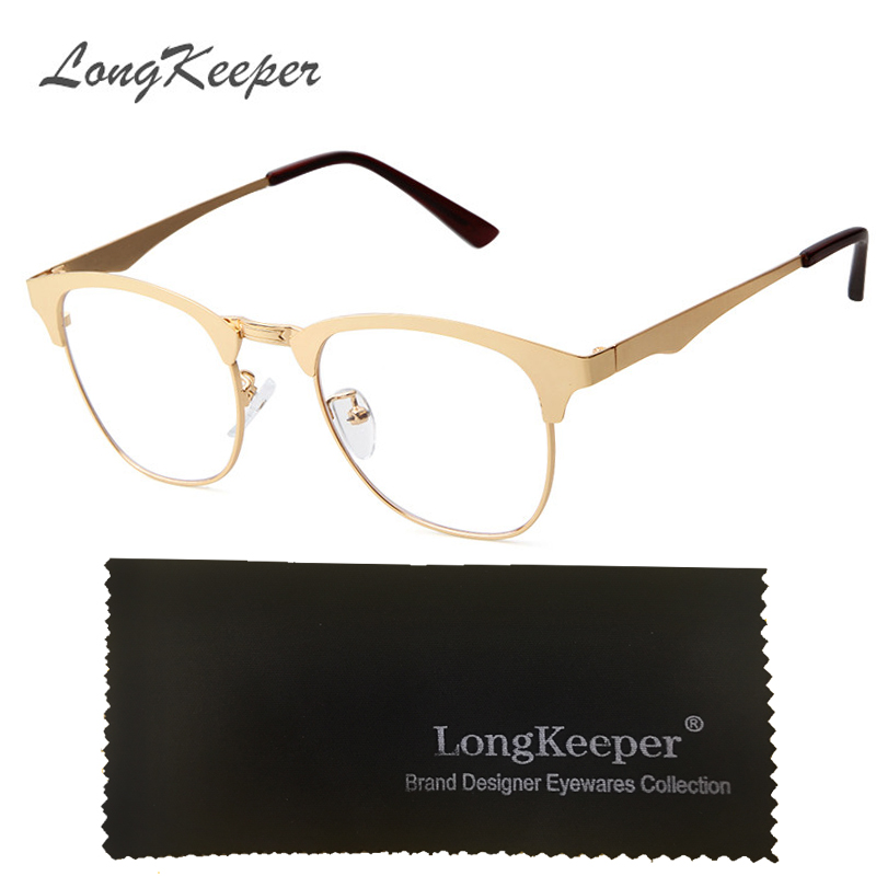 6edf5b7d8e LongKeeper 2017 New Gold Metal Frame Eyeglasses For Women Men Vintage Glasses  Clear Lens Optical Frames