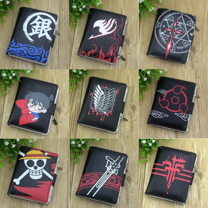New Japanese Anime Short Wallets Button Bifold Purse ONE PIECE Fairy Tail Totoro Cartoon Billfold Leather PU Unisex Wallet