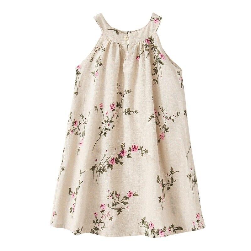 Girls Flower Dress Kid Linen Breathable Straight Comfortable Dress Girl Rural Teen Sleeveless Floral Beige Bow Children 39 s Dress in Dresses from Mother amp Kids