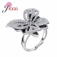 JEXXI Elegant Women White Black Clear Crystal Rings Fashion Hollow Bowknot Wedding Party Jewelry 925 Sterling
