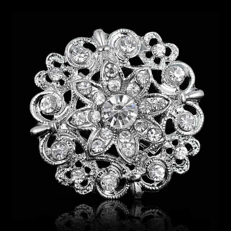 Berlian Imitasi Kristal Perak Bunga Bros untuk Wanita Pria Pernikahan Pesta Pengantin Bulat Bouquet Bros Pin Bening