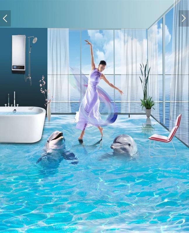 3 d pvc flooring custom wall sticker a pair of ocean for Dolphin wall mural