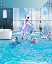 3 d pvc flooring custom wall sticker A pair of  ocean dolphins 3d bathroom flooring painting photo 3d wall murals wallpaper