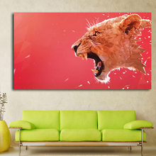 Large Size Lion Head Roaring Canvas Art Print Painting Poster, Red Blackground Wall Pictures for Home Decoration, Wall Art(China)
