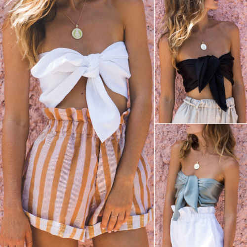 Ladies Women Lace up Bandage Off Shoulder Sleeveless Crop Tops Vest Shirt Bowknot Chiffon Casual Summer Clothing One Size