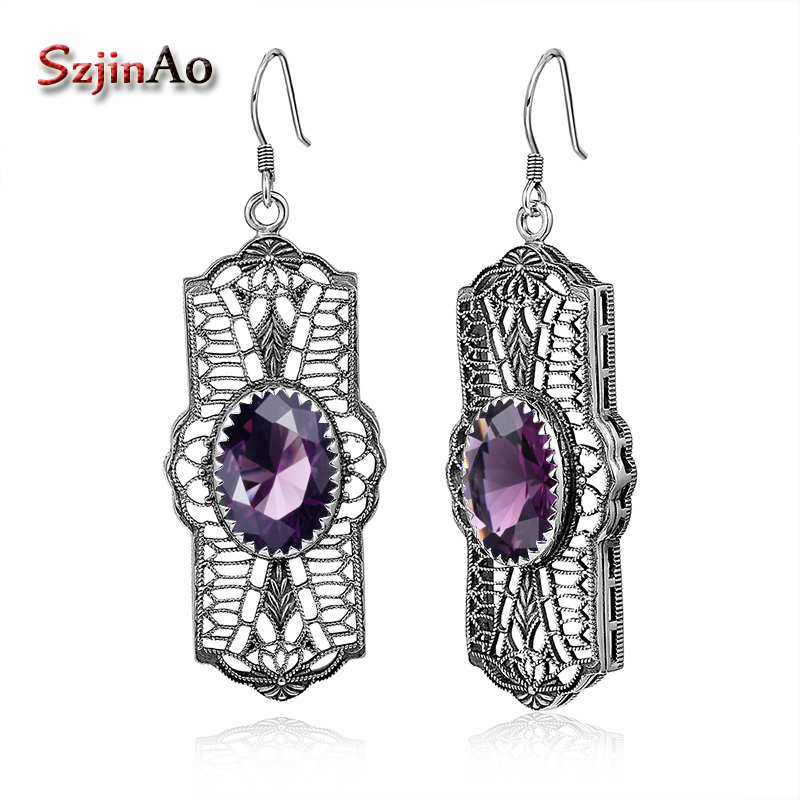 Szjinao Unique Soild 925 Sterling Silver Australia Amethyst Earrings for Women Wedding Party Charms Handmade Earrings цены онлайн