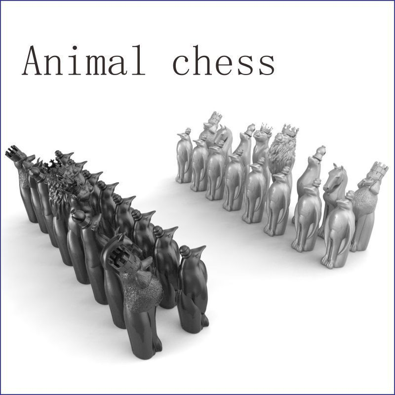 Animal_chess 3D Model For 4 Axis Circular Diagram 3D Carved Sculpture Cnc Machine In STL File Chess