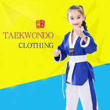2019 Professional Blue White Cotton Taekwondo Uniforms Children Adult Unisex Long Sleeve Taekwondo Dobok Clothes Suit Clothing F все цены