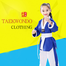где купить 2019 Professional Blue White Cotton Taekwondo Uniforms Children Adult Unisex Long Sleeve Taekwondo Dobok Clothes Suit Clothing F по лучшей цене