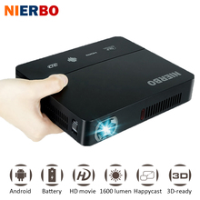 NIERBO LED Home Theater Projector Pocket Battery 1080p full hd Projector Android 3D 1280*800 Video Projector wireless HDMI USB