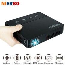 NIERBO LED Projecteur De Poche Home Cinéma Batterie 1080 P full hd Projecteur Android 3D 1280*800 Vidéo Projecteur sans fil HDMI USB