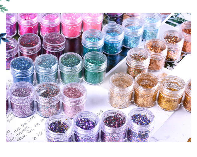 4/5 Boxes/ Set Holographic Glitter Set, 10ML in a Jar NAIL ART GLITTER ,  88+ COLOURS Chunky Loose Glitter for Glitter Nail art