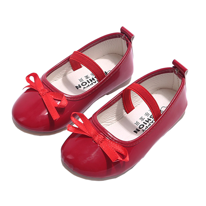 WENDYWU Red Girl Shoes Autumn New Arrival 2017 Casual Solid Bow School Shoes For Girls Simple Round Kids Shoes