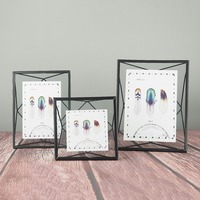 European Retro Metal Prismatic Wire Back Transparent Glass Photo Frame Elegant Creative Home Table Wall Decoration