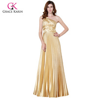 Grace Karin One Shoulder Evening Dresses Gold Long Formal Evening Gowns Leaves Elegant Special Occasion Dress