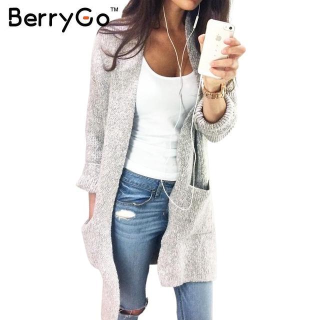 BerryGo Серый вязаный свитер длинный кардиган Женщин трикотажные карманный рукавом свободные перемычка Повседневный осень зима женский пальто верхняя одежда