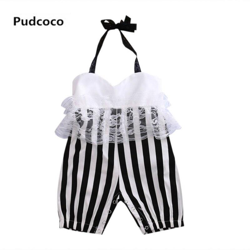 Cute Baby Girls Lace Floral Halter Bandage Striped Romper Kids Infant Newborn Sunsuit Outfits Playsuit Jumpsuit Summer Clothes