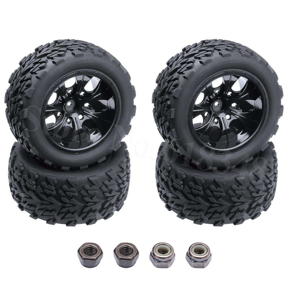4бр / лот гумени камиони гуми вложки и колела за RC 1/10 мащаб офроуд HSP BRONTOSAURUS червен вулкан EPX 4WD модел