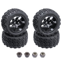 4pcs/Lot Rubber Truck Tires Sponge Inserts & Wheel Rims For RC 1/10 Scale Off Road HSP BRONTOSAURUS Redcat Volcano EPX 4WD Model