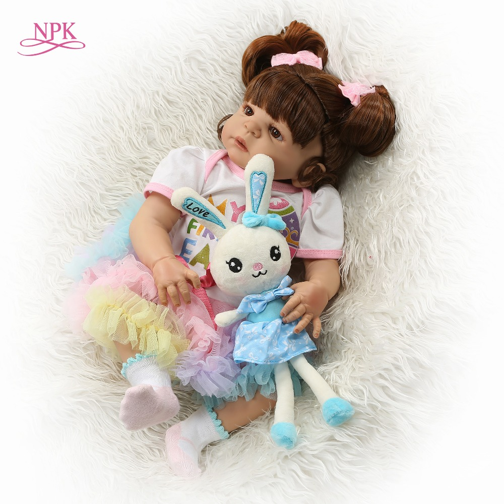 Oyuncaklar ve Hobi Ürünleri'ten Bebekler'de NPK 56 CM Tam Vücut silikon Kız Yeniden Doğmuş Bebekler Bebek Banyo Oyuncak Gerçekçi Yenidoğan Prenses Bebek Bebek Bonecas Bebes Reborn menina'da  Grup 1