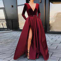 Evening Dress Long Sleeves Deep V-Neck Vestido De Festa Satin with Velour Evening Gowns Robe De Soiree 2019 abiye gece elbisesi