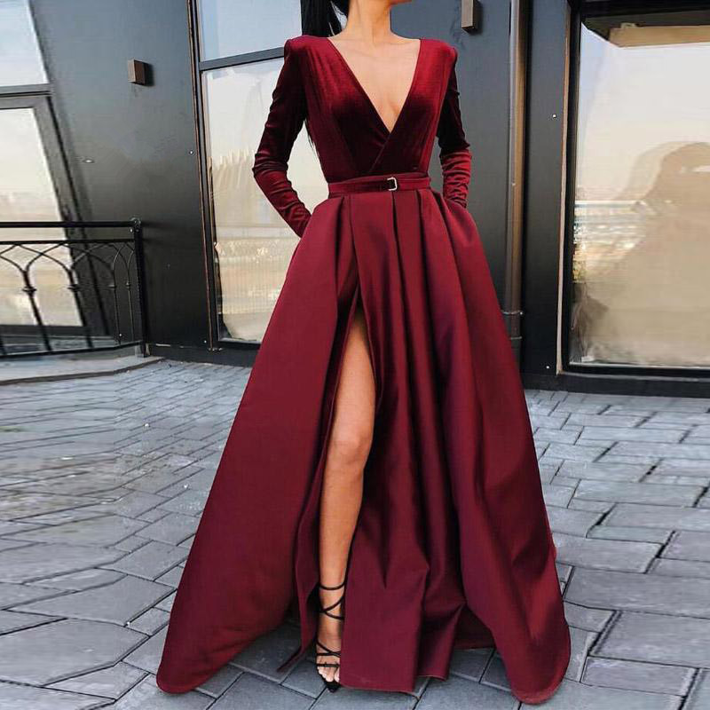 Robe De soirée manches longues col en v profond Robe De soirée en Satin avec velours robes De soirée Robe De soirée 2019 abiye gece elbisesi