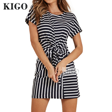 купить Women Summer Dress 2018 Short Sleeve Black and White Stripped Dress Tshirt Dress Cotton Front Knot Casual Mini Dress KF0842H по цене 912.19 рублей
