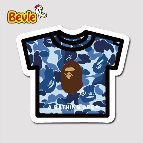 Bevle 1451 Bathing Ape T shirt Fashion 3M Sticker Waterproof Laptop Luggage Fridge Skateboard Car Graffiti