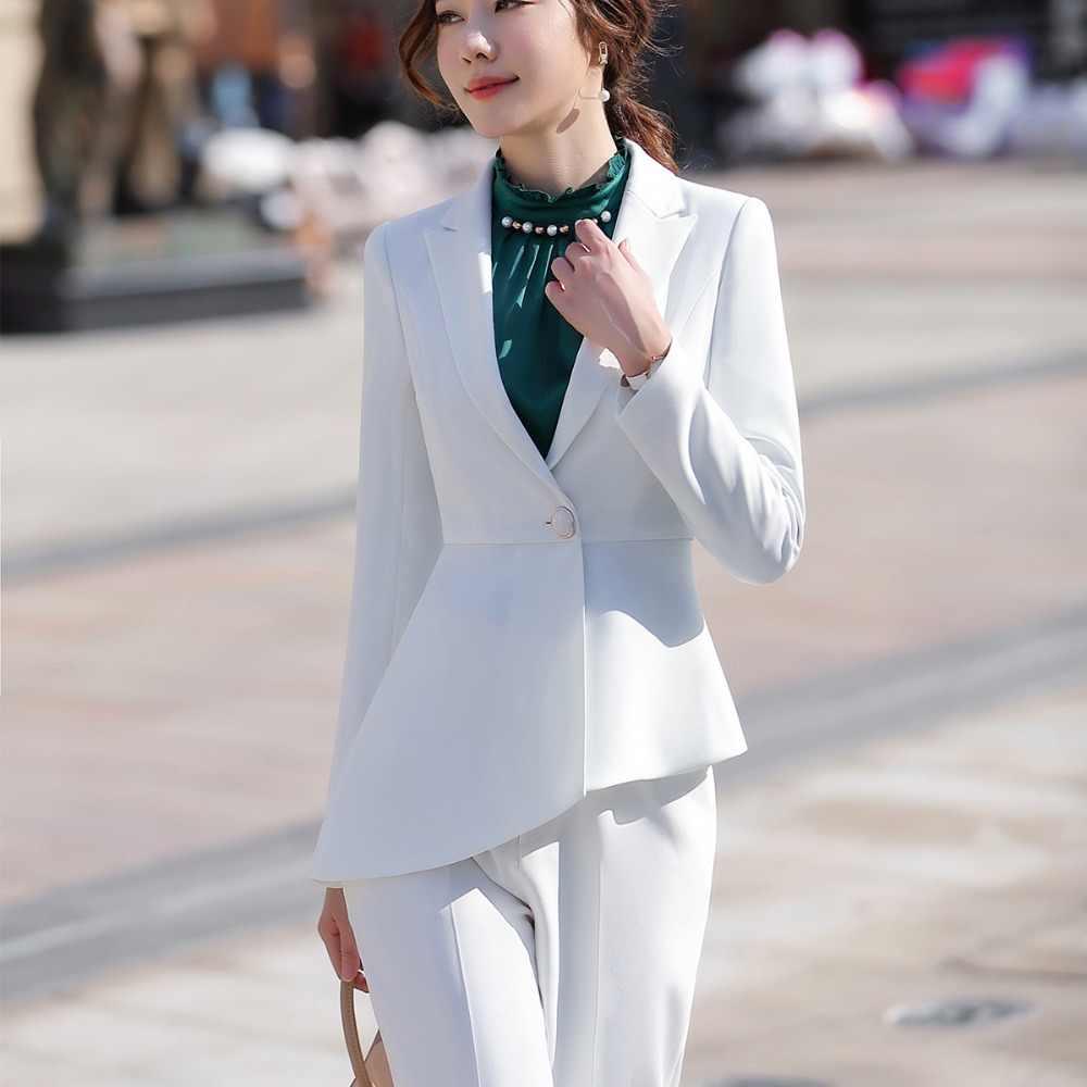 113839d767cc ... Women elegant pant suit slim fashion formal black white long sleeve  symmetrical blazer with trousers office