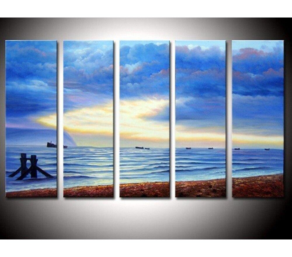 Duvar Sanati Modern Yagliboya Resim El Yapimi Mavi Gokyuzu Deniz