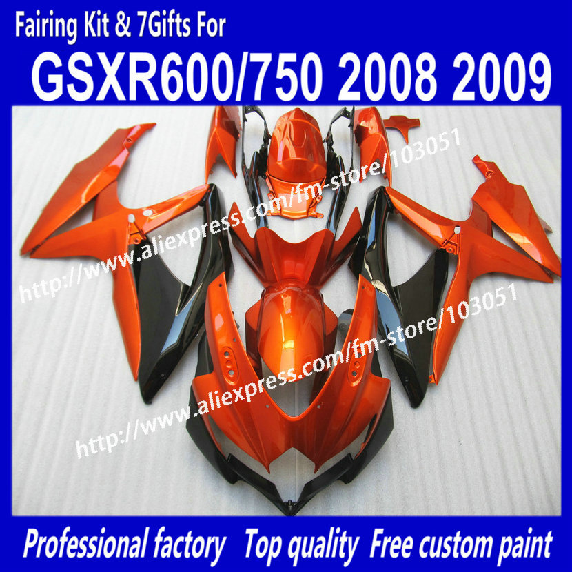 all flat orange in black body fairings kit for SUZUKI GSXR 600 2008 GSX R750 2009 GSXR600 GSXR750 08 09 K8 fairing set custom road fairing kits for suzuki glossy flat black 2006 gsxr 1000 k5 2005 gsx r1000 06 05 motorcycle fairings kit