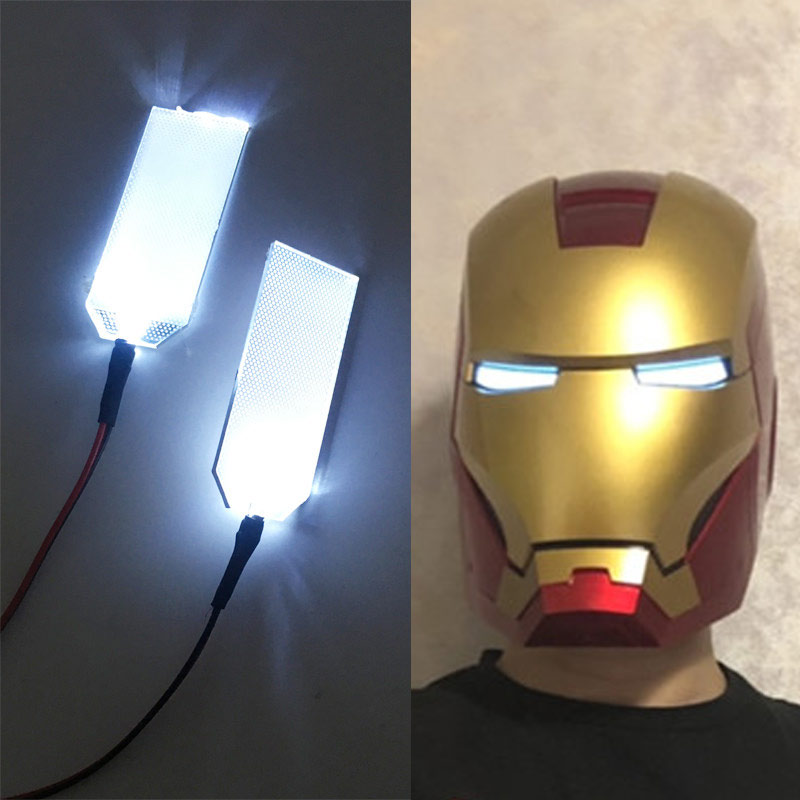 DIY LED Light Eyes Kits FOR 1:1 Iron Man Tony Stark Helmet Cosplay Eyes Light White Colour Mask Accessories 0717