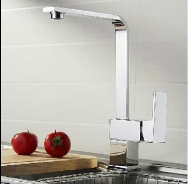 fashion High quality chrome single lever brass hot and cold 360 degree rotating kitchen faucet