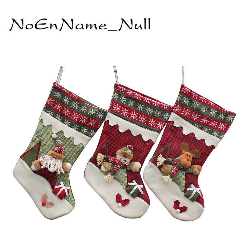New year 39 s christmas decor santa claus sock gift bag kids for New home christmas decoration