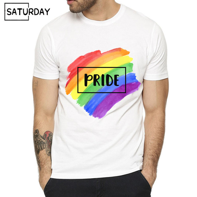 US $8 38 50% OFF Men and Women Gay Pride Print Tshirt Unisex Summer O Neck  White Hipster T shirts Man Harajuku Tops Tee-in T-Shirts from Men's