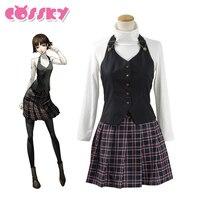 Persona 5 Makoto Nijima Dress Cosplay Costume School Uniforms For Girls Women Black Vest White Shirt