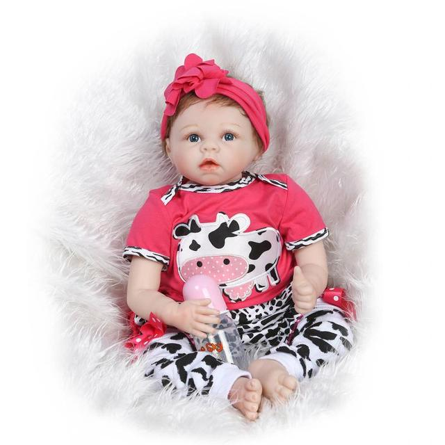 47d82a6c7eb3 55cm New Soft Body Silicone Reborn Baby Dolls Toy Exquisite Real ...