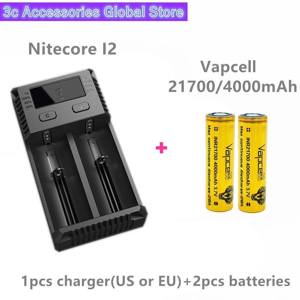 Vapcell 2 pièces INR 21700 4000 mAh 28A li-ion batterie rechargeable avec Nitecore nouveau I2 Digi chargeur LCD Intelligent pour fumée E-CIG