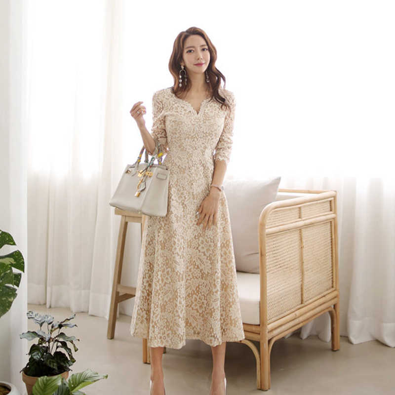 Yeni varış kadın tatlı v yakalı dantel elbise moda rahat rahat parti zarif rahat seksi yüksek kaliteli evaze elbise