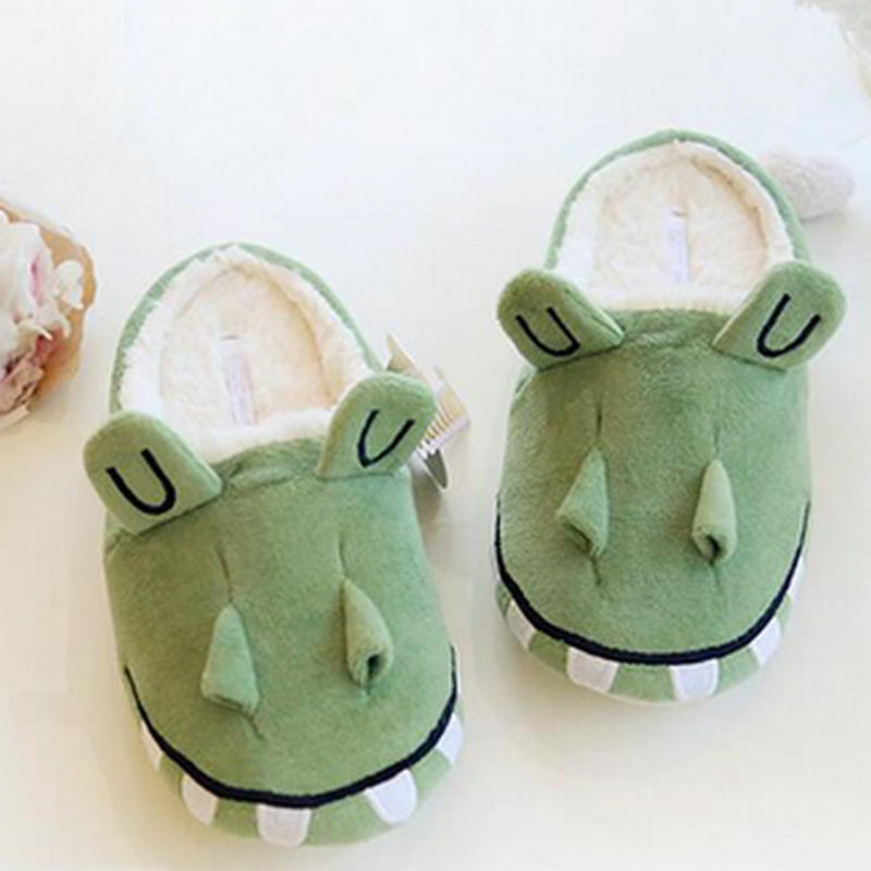 autumn and winter warm indoor Home crocodile thick slippers lovers lovely cotton slippers women shoes autumn and winter carton lovers slippers indoor cotton padded floor warm slippers plush for women slippers